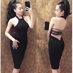 Đầm body yếm sexy hở lưng đan dây