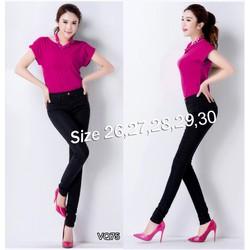 Quần jean đen lưng cao 1 nút 2 túi trước VQ75