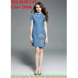 Đầm jean nữ ôm dáng thêu hoa xinh đẹp và duyên dáng DJE142