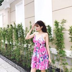 Đầm xòe hoa 2 dây viền ren