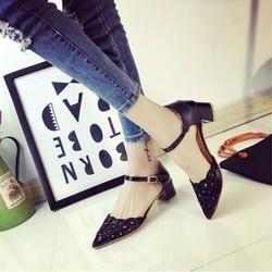 Giày cao gót bít mũi đế vuông laze hàng nhập