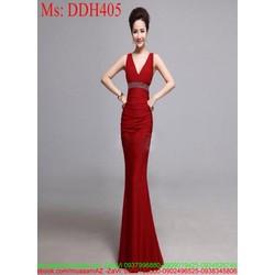 Đầm dạ hội thiết kế sát nách xẻ cổ V phối kim sa sang trọng DDH405