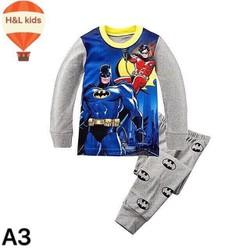 Bộ thun tay dài bé trai hình siêu nhân batman [size:9] 21-23kg