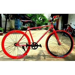 xe đạp Fixed Gear đỏ đen