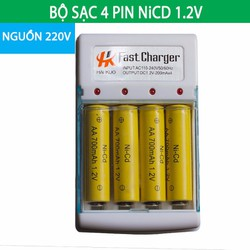 Bộ Sạc Pin AA NiCD 1.2V  Tặng kèm 4 viên pin sạc