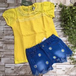 Bộ áo ren phối quần jeans size đại - bg259[26-42kg]