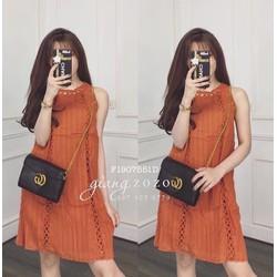 Đầm suông xô viền ren sát nách hàng nhập - MS: S190703 Gs: 155k