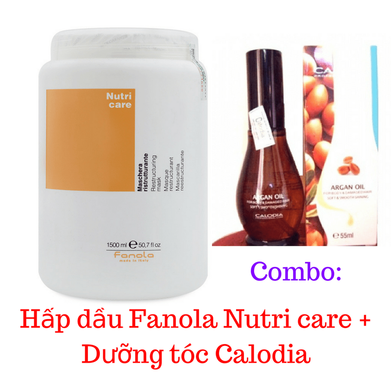 Combo Hấp dầu Fanola Nutri + Dưỡng tóc Calodia 1
