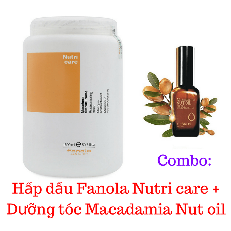 Combo Hấp dầu Fanola Nutri  + Dưỡng tóc macadamia 1