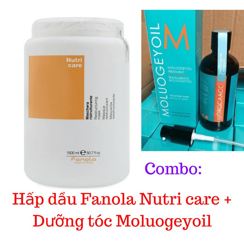 Combo Hấp dầu Fanola Nutri + Dưỡng tóc Moluogeyoil 1