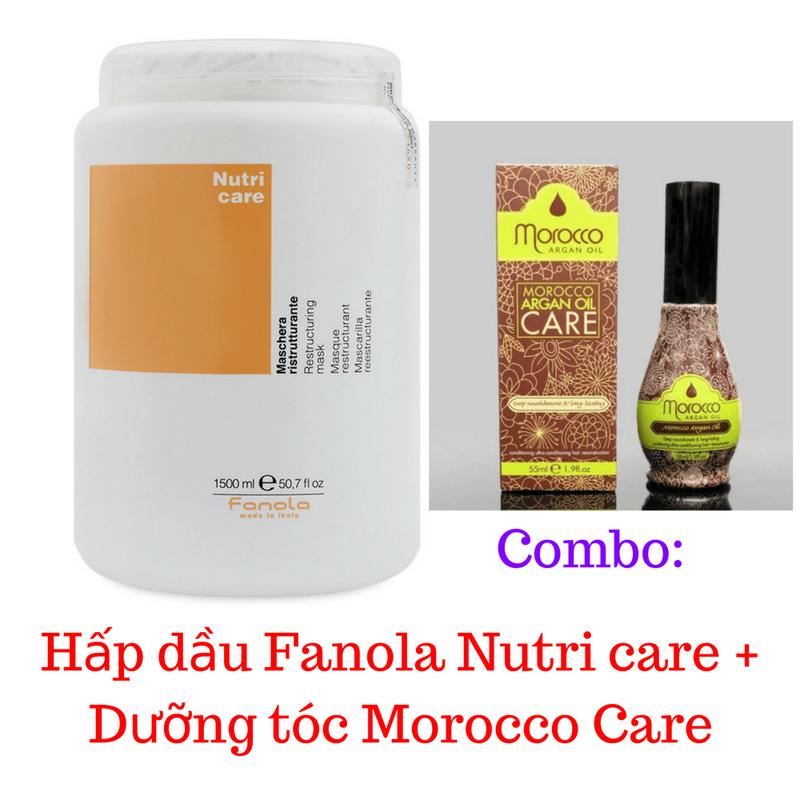 Combo Hấp dầu Fanola Nutri  + Dưỡng tóc Morocco Care 1