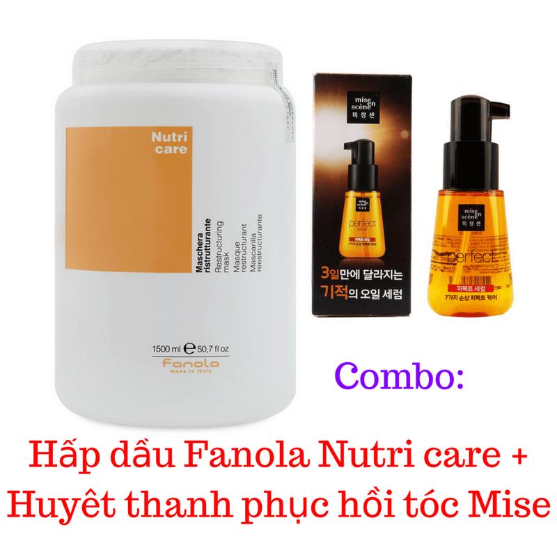 Combo Hấp dầu Fanola Nutri  + Huyết thanh phục hồi tóc Mise 1