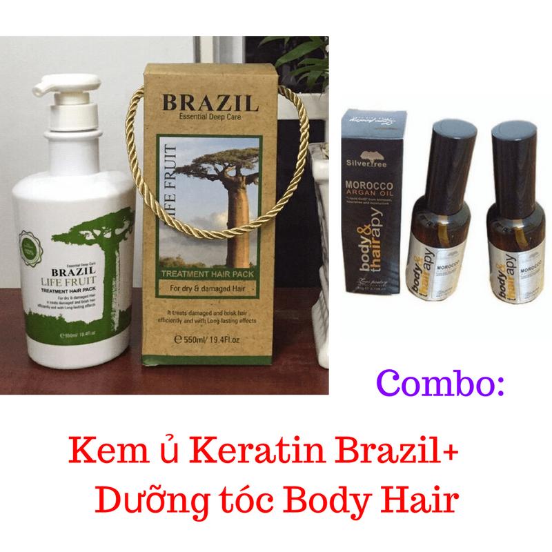 Combo Kem ủ Keratin Brazil tươi + Dưỡng tóc Body Hair 1
