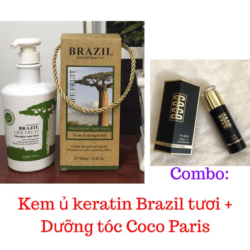 Combo Kem ủ Keratin Brazil tươi + Dưỡng tóc Coco Paris 1
