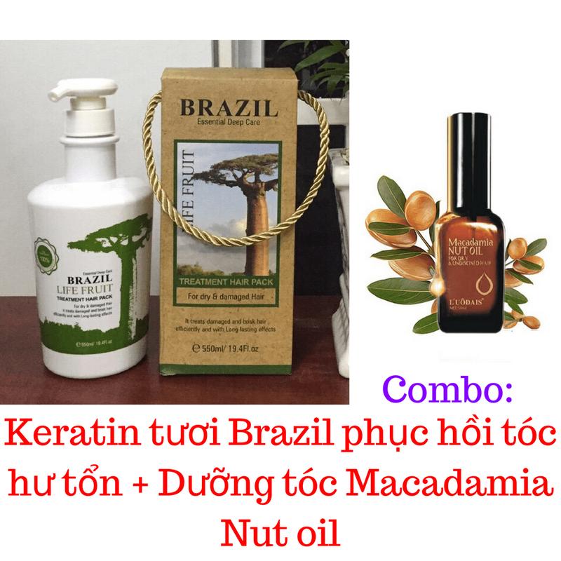ComBo Kem ủ Keratin Brazil tươi + Dưỡng tóc macadamia 1