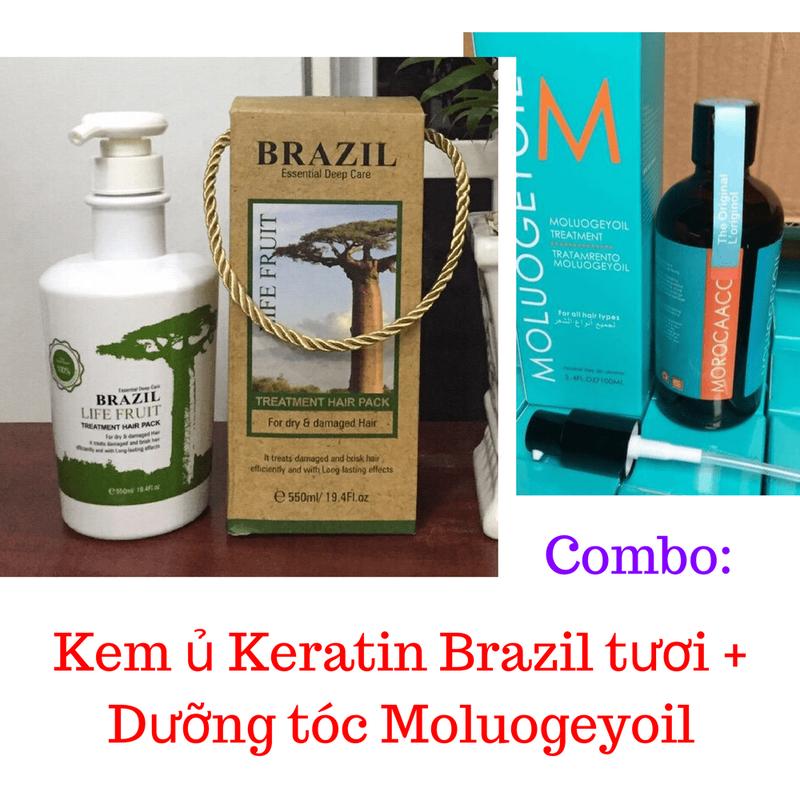 Combo Kem ủ Keratin Brazil tươi + Dưỡng tóc Moluogeyoil 1