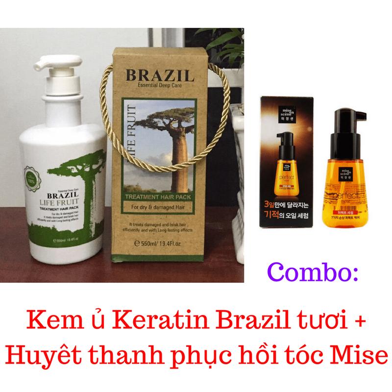Combo Kem ủ Keratin Brazil tươi + Huyết thanh phục hồi tóc Mise 1