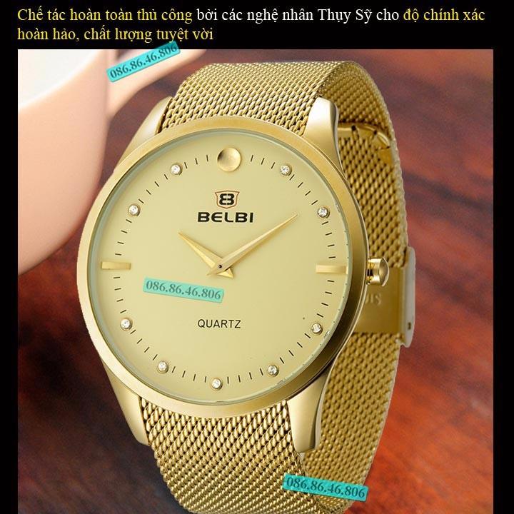 Đồng hồ kim cao cấp mạ PVD vàng mặt sapphire chống nước Thụy Sĩ 4