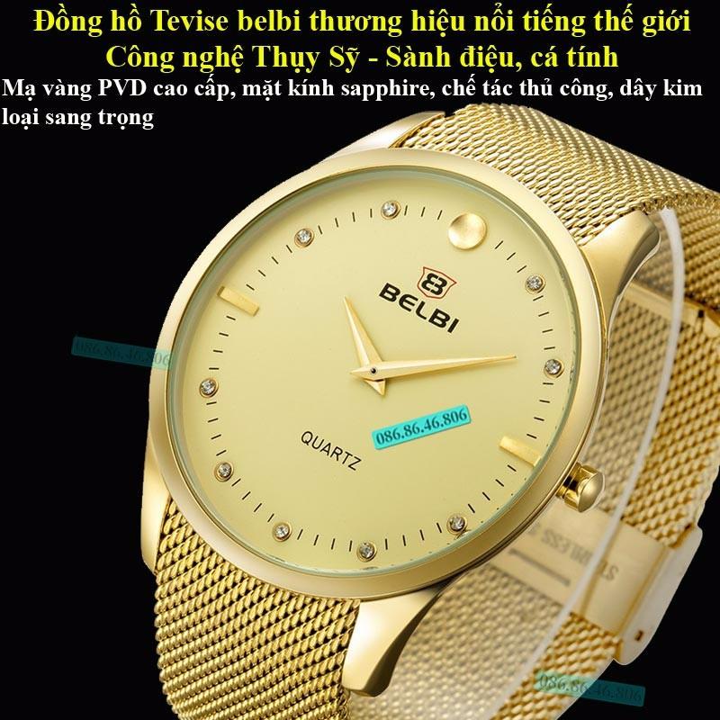 Đồng hồ kim cao cấp mạ PVD vàng mặt sapphire chống nước Thụy Sĩ 1