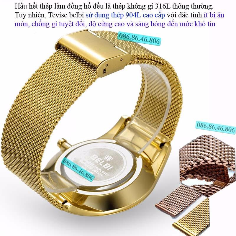 Đồng hồ kim cao cấp mạ PVD vàng mặt sapphire chống nước Thụy Sĩ 6