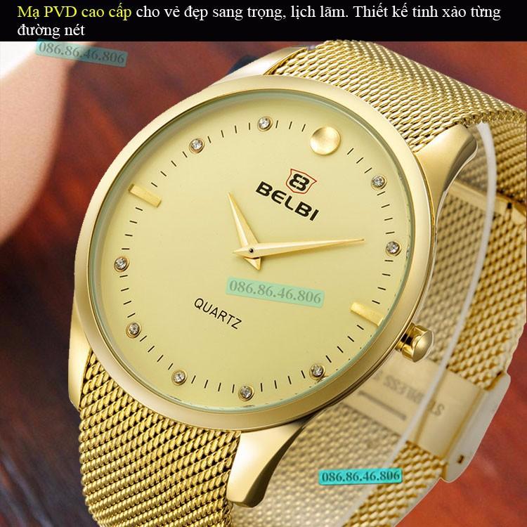 Đồng hồ kim cao cấp mạ PVD vàng mặt sapphire chống nước Thụy Sĩ 7