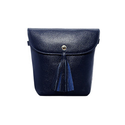 Túi đeo chéo nữ da bò thật cao cấp màu xanh tím than