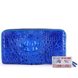 Ví nữ da cá sấu Huy Hoàng nhiều ngăn màu xanh dương