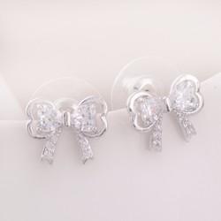 Bông tai Ngọc Nữ hình nơ đính đá Zircon cao cấp BT9943