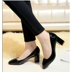Giày cao gót bít mũi đế vuông cao cấp