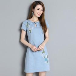 Đầm Jean Cổ Giọt Nước Thêu Hoa Sành Điệu - DTP1380
