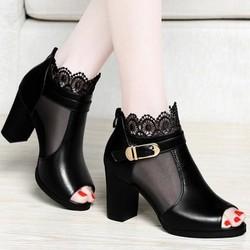 Giày bot cổ lưới hoa