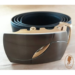 Thắt lưng dây nịt nam da trơn màu đen TL00174-2
