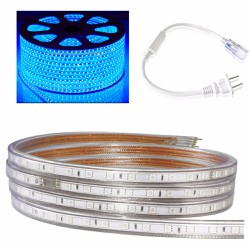 Cuộn đèn led dây 5050 dài 100m  màu xanh dương và 1 đầu nối dây nguồn
