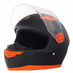 Combo mũ bảo hiểm royal M136 đen nhám viền cam_tặng kèm 01 kính