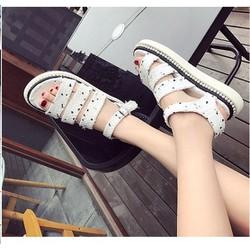 Giày sandal bánh mì 3 quai ngang vải đốm