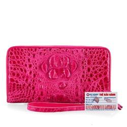 Ví nữ da cá sấu Huy Hoàng nhiều ngăn màu hồng