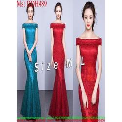 Đầm maxi dự tiệc bẹt vai ngang xinh đẹp chất liệu vải ren DDH489
