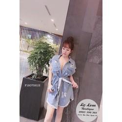 Đầm suông Jean rách cột eo - MS: S180761 Gs 165k