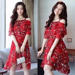 Đầm voan họa tiết viền bèo cao cấp - hàng nhập Quảng Châu