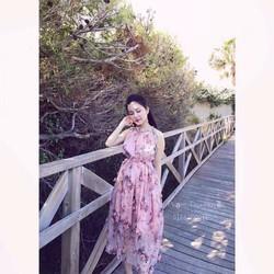 Đầm maxi cổ yếm đính hoa nổi siêu hot - DKN3672