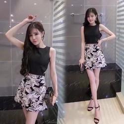 Set áo croptop chân váy hoa SNT157