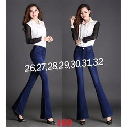 Quần jean lưng cao 1 nút ống loe wash nhẹ-TQD169