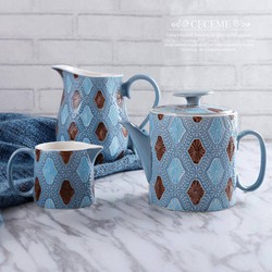 Set kẻ trám- Ấm sứ - 22x15 - màu xanh dương