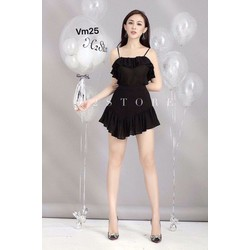 Set áo 2 dây + short váy bèo