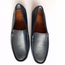 L1 - Giày lười da bò màu đen đế cao su