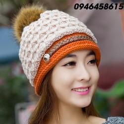 nón mũ len nữ thần thời trang thu đông phong cách Hàn HNNL52