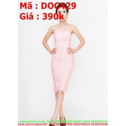 Đầm ôm dự tiệc hồng nhẹ chất liệu ren cao cấp DOV429