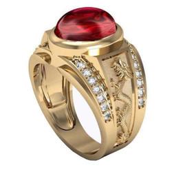 Nhẫn nam đá thạch anh đỏ