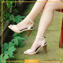 giày cao gót đế vuông hở mũi