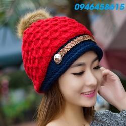 nón mũ len nữ thần thời trang thu đông phong cách Hàn HNNL56
